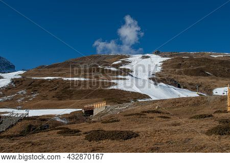 Ski Slope Prepared With Artificial Snow Due To Lack Of Precipitation