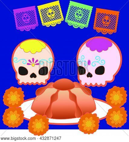 Traditional Pan De Muerto And Sugar Skulls For The Day Of The Dead