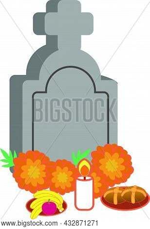 Grave With Ofrenda For The Day Of The Dead