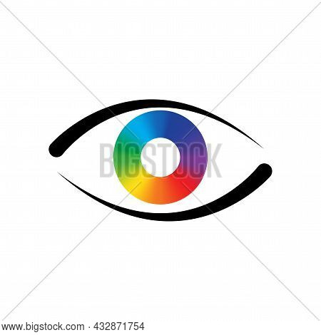 Colorful Eyeball On Black Eyelid Icon. Abstract Background. Design Art Concept. Vector Illustration.