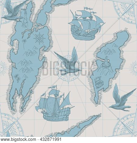 Hand-drawn Seamless Pattern In Form Of Old Map With Islands, Compasses, Pirate Frigates, Vintage Sai