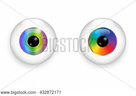 Rainbow Eyeball Icon. Realistic Abstract Graphic. Beautiful Design Art Concept. Vector Illustration.