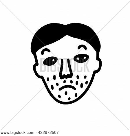 Doodle Bearded Face. Hand-drawn Outline Human Isolated On White Background. Funny Thin Sad Face Avat