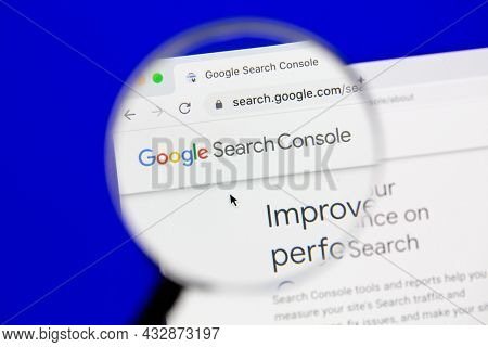 Ostersund, Sweden - October 27, 2020 Google Search Console website. Google Search Console is a web service by Google which allows webmasters to check status and optimize their websites