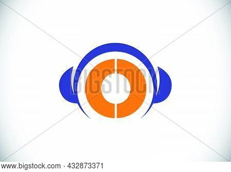 Initial O Monogram Alphabet With A Headphone. Headphone Logo. Music Sign Symbol. Font Emblem. Design