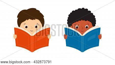 White European And Black African American Boys Read Books. Children Hold Books. Vector Illustration