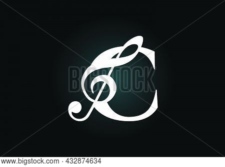 Initial C Monogram Alphabet With A Musical Note. Symphony Or Melody Signs. Musical Sign Symbol. Font