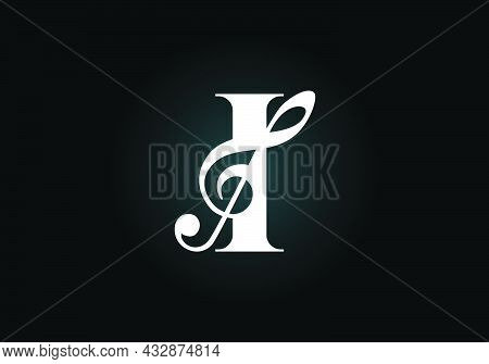 Initial I Monogram Alphabet With A Musical Note. Symphony Or Melody Signs. Musical Sign Symbol. Font