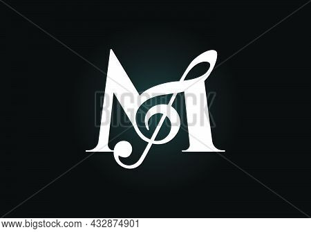 Initial M Monogram Alphabet With A Musical Note. Symphony Or Melody Signs. Musical Sign Symbol. Font