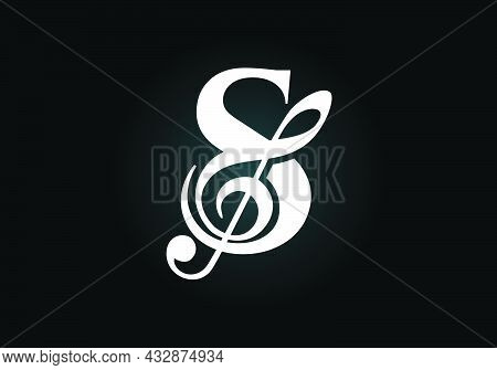 Initial S Monogram Alphabet With A Musical Note. Symphony Or Melody Signs. Musical Sign Symbol. Font