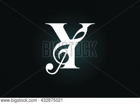 Initial Y Monogram Alphabet With A Musical Note. Symphony Or Melody Signs. Musical Sign Symbol. Font
