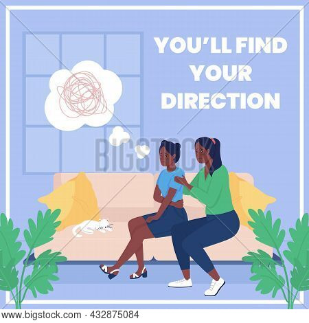 Mother Supports Teen Social Media Post Mockup. You Will Find Your Direction Phrase. Web Banner Desig