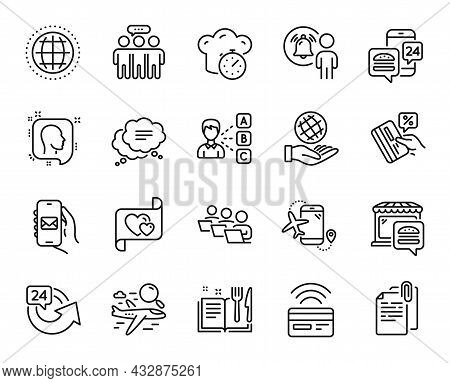 Vector Set Of Credit Card, Text Message And User Notification Line Icons Set. 24 Hours, Opinion And