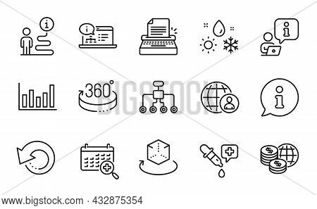 Science Icons Set. Included Icon As Online Documentation, 360 Degrees, Restructuring Signs. Augmente