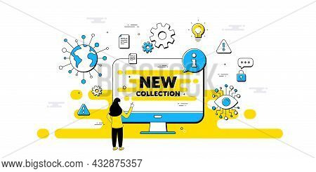 New Collection Text. Internet Safe Data Infographics. New Fashion Arrival Sign. Advertising Offer Sy
