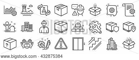 Set Of Industrial Icons, Such As Delivery Insurance, Parcel Tracking, Parcel Icons. Delivery Box, Cu