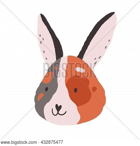 Cute Funny Face Of Bunny. Baby Rabbits Head Portrait In Doodle Style. Adorable Little Animal With Lo