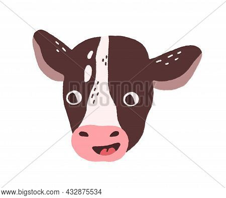 Cute Funny Calf Face. Head Portrait Of Domestic Milk Farm Animal In Doodle Style. Baby Cow Muzzle Wi