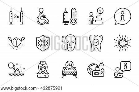 Medical Icons Set. Included Icon As Medical Mask, Skin Moisture, Nurse Signs. Face Attention, Corona