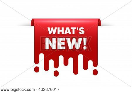 Whats New Text. Red Ribbon Tag Banner. Special Offer Sign. New Arrivals Symbol. Whats New Sticker Ri