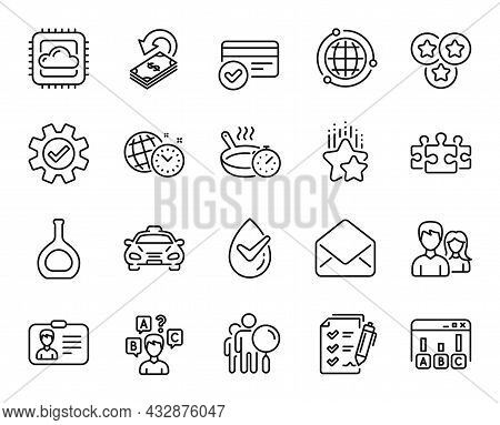 Vector Set Of Cognac Bottle, Cashback And Payment Methods Line Icons Set. Service, Couple And Cloud