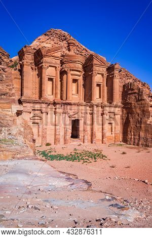 Petra, Jordan. Highlight Of Petra, The Amazing Ad Deir, Monastery With Blue Sky.