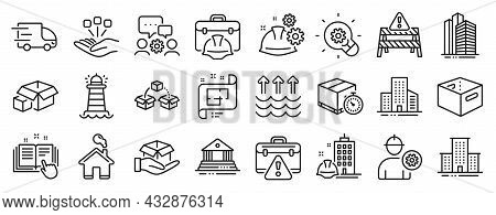 Set Of Industrial Icons, Such As Truck Delivery, Hold Box, Lighthouse Icons. Construction Building,