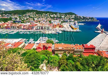Nice, France. Colorful Panoramic View Over The Old Town And Port Lympia