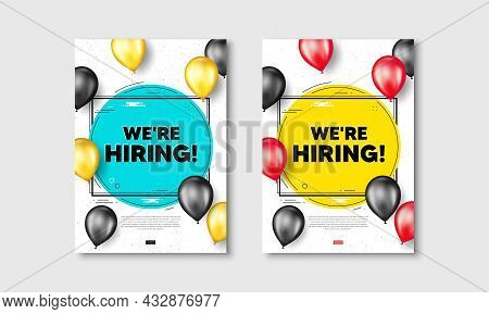 We Are Hiring Text. Flyer Posters With Realistic Balloons Cover. Recruitment Agency Sign. Hire Emplo