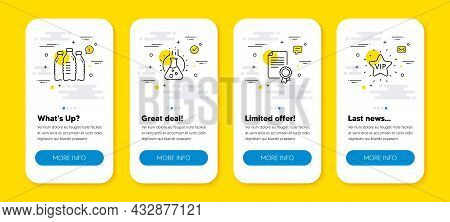 Vector Set Of Chemistry Lab, Water Bottles And Certificate Line Icons Set. Ui Phone App Screens With