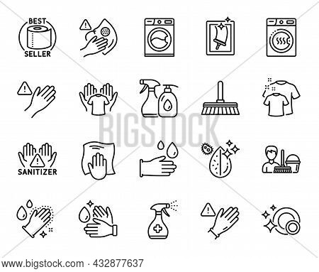 Vector Set Of Medical Cleaning, Dirty Mask And Washing Hands Line Icons Set. Cleaning Liquids, Use G