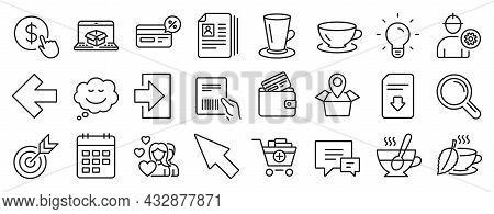 Set Of Line Icons, Such As Light Bulb, Speech Bubble, Calendar Icons. Target, Teacup, Left Arrow Sig