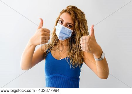 Young Woman With A Medical Mask, Protection And Precaution For Contagious Disease. Corona Virus Outb