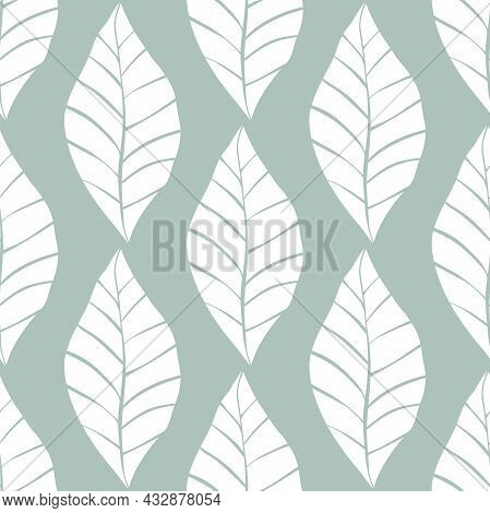 Seamless Floral Pattern With White Shabby Hand Drawn Leaves On Turquoise Background. Nature Vector B