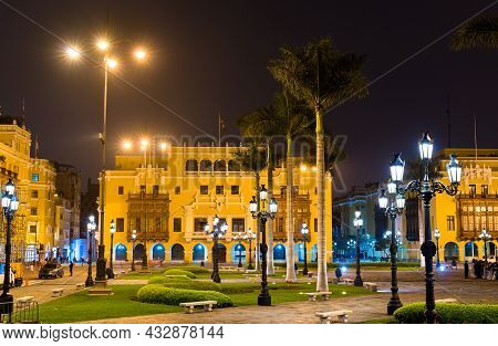 Traditional Buildings At The Plaza De Armas In Lima, The Capital Of Peru