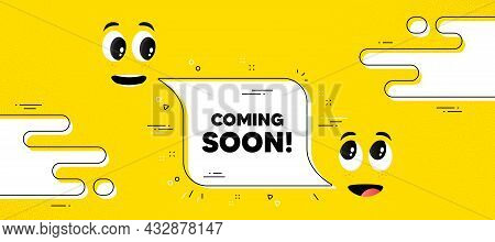 Coming Soon Text. Cartoon Face Chat Bubble Background. Promotion Banner Sign. New Product Release Sy