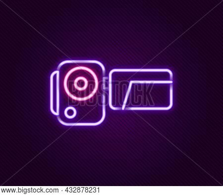 Glowing Neon Line Cinema Camera Icon Isolated On Black Background. Video Camera. Movie Sign. Film Pr