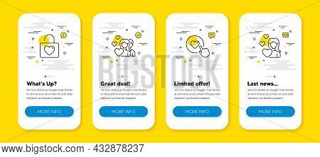 Vector Set Of Wedding Locker, Like Button And Couple Line Icons Set. Ui Phone App Screens With Line