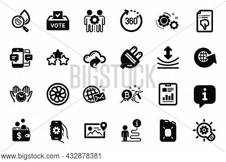 Vector Set Of Technology Icons Related To Canister Oil, Bitcoin Mining And Ranking Stars Icons. Fan