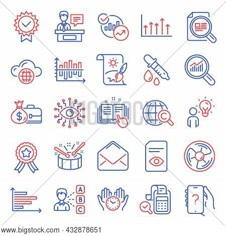 Education Icons Set. Included Icon As Safe Time, Check Article, Cloud Computing Signs. Technical Doc