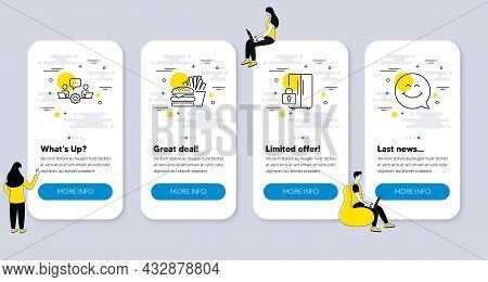 Set Of Business Icons, Such As Refrigerator, Teamwork, Burger Icons. Ui Phone App Screens With Peopl
