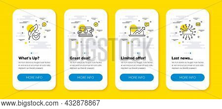 Vector Set Of Copywriting Notebook, Hypoallergenic Tested And Sales Diagram Line Icons Set. Ui Phone