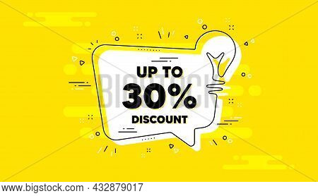 Up To 30 Percent Discount. Idea Yellow Chat Bubble Banner. Sale Offer Price Sign. Special Offer Symb