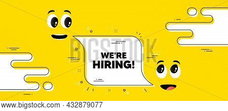 We Are Hiring Text. Cartoon Face Chat Bubble Background. Recruitment Agency Sign. Hire Employees Sym