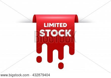 Limited Stock Sale. Red Ribbon Tag Banner. Special Offer Price Sign. Advertising Discounts Symbol. L