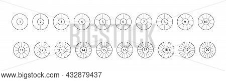Divide Circle. Segmented Circles Set Isolated On A White Background. Black Segment Element. Vector R