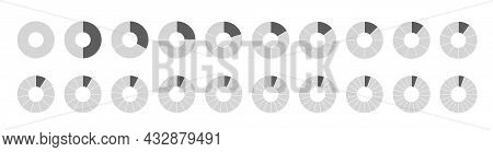 Segmented Circles Set Isolated On A White Background. Fraction Big Set, Of Wheel Diagrams. Various N