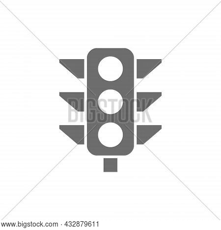 Vector Traffic Light, Signal Light Grey Icon.
