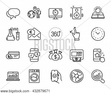 Vector Set Of 360 Degrees, Time Management And Approved App Line Icons Set. Sun Energy, Talk Bubble