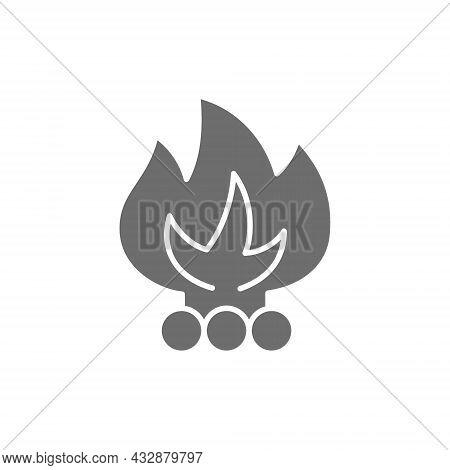 Vector Bonfire, Waste Incineration, Garbage Grey Icon.